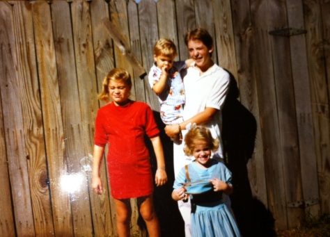 Cousin Katie, me (in blue), cousin Michael (who died in 1992) and cousin Kyle.