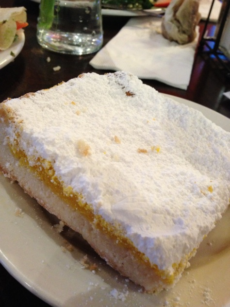 The most incredible lemon bar I've ever eaten. Had about half an inch deep layer of powdered sugar on top! I love Dallas dining!